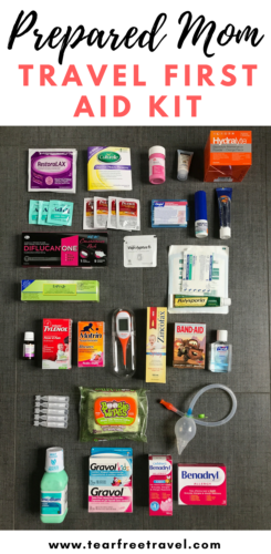 Wondering what to bring in your travel first aid kit? Here is my first aid checklist for the best family first aid kit. From snot-suckers to antidiarrheals, this kit has got you covered! There is no such thing as being over-prepared when it comes to traveling with little ones. Click through for the contents of my children's medical kit. #travelfirstaidkit #familyfirstaidkit #babyemergencykit #toddlerfirstaidkit #childrensmedicalkit #firstaidkit #bestfamilyfirstaidkit