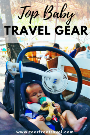 Wondering what to bring for travel with your baby? Here is my tried and true list of baby travel must-haves. The gear I have used over and over again and has kept my sanity on vacation with a baby. Click through to see what I've found!