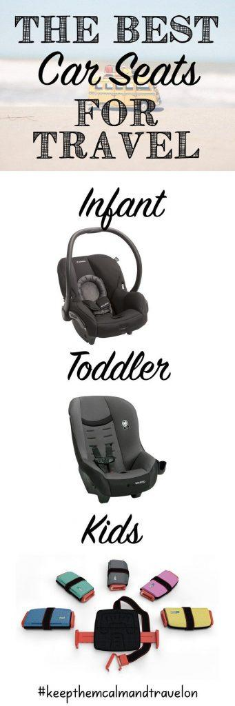 Wondering which travel car seat to bring on vacation? Here are my top choices of the least bulky and most lightweight portable car seats for every age group. The toddler travel car seat has been a life saver for me! #toddlercarseat #toddlertravelcarseat #babycarseat #carseat #portablecarseat #portablebabycarseat #travelcarseat #travelwithkids #lightweightcarseat