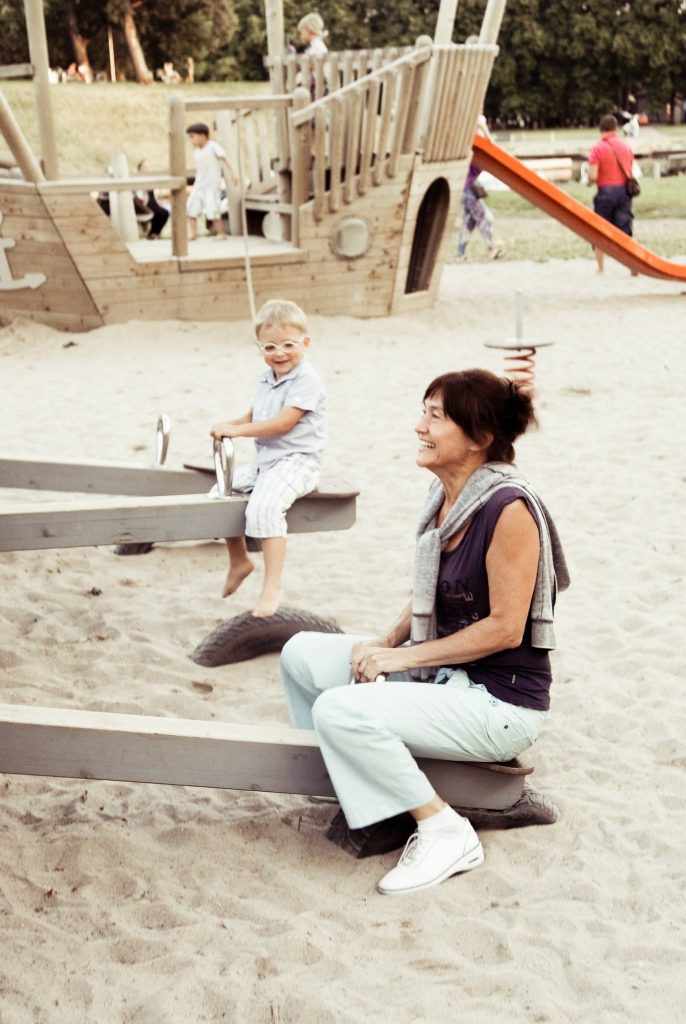 grandmother and grandson on vacation