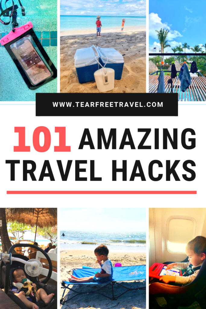 101 travel hacks! These amazing travel hacks will make your next vacation a breeze. These amazing hacks for travellers cover everything from road trip hacks, hotel room hacks, flight hacks, packing hacks and family travel hacks. These travel tips are not to be missed for your next vacation! Use these awesome travel ideas for your next family trip! #travel #traveltips #travelhacks #hacks