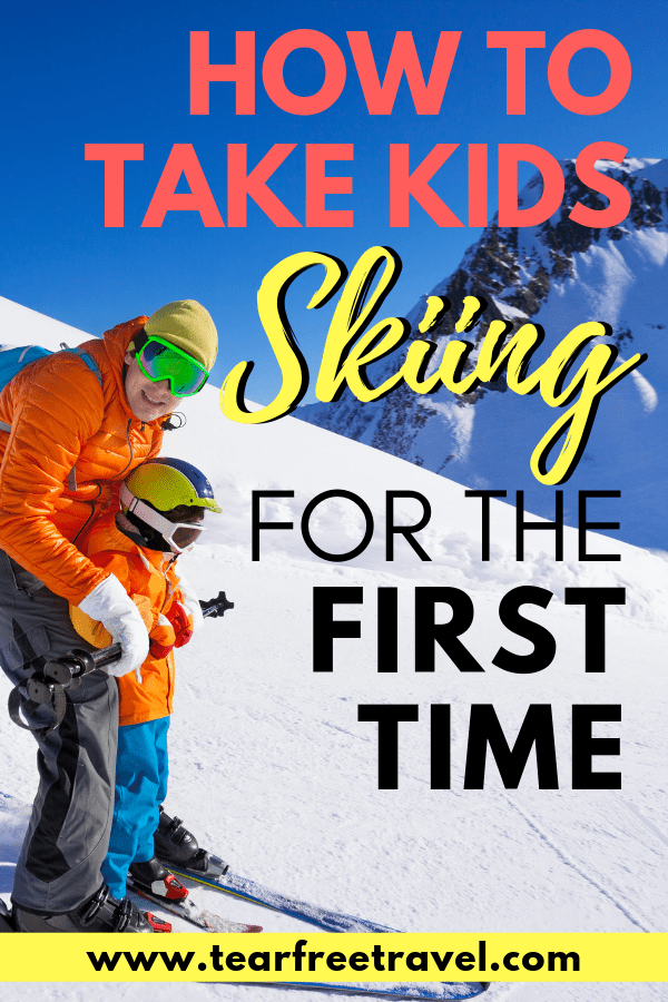Skiing with kids pin